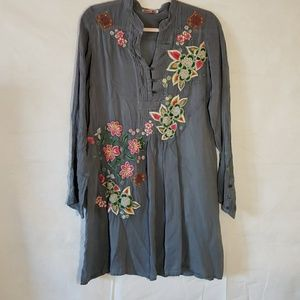 Johnny Was Rayon Embroidered Dress Tunic